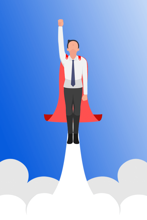 sourcing hero business man with cape
